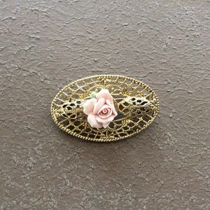 Vintage Gold Pink Rose Brooch Pin
